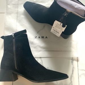 Zara Split Leather Heeled Ankle Boots (fits large)